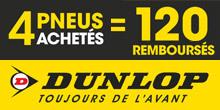 Promo Dunlop : 120€ remboursés